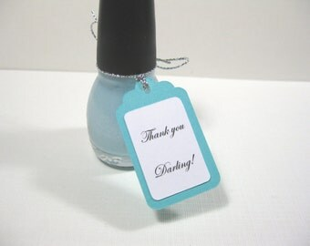 10 Breakfast at Tiff... Aqua Blue Nail Polish Favor Tags - Thank You Darling - Audrey Hepburn - Bridal Shower Favor Tags -Baby Shower