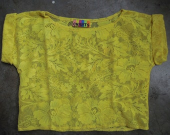 Vtg 80sYellow Floral Lace Stretch Top Crop Short Sleeve T Shirt Size Small Medium