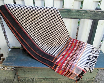 Nagaland Woolen Shawl -Ethnic Hand Loom Textile -Tablecloth - Throw - Wall Hanging