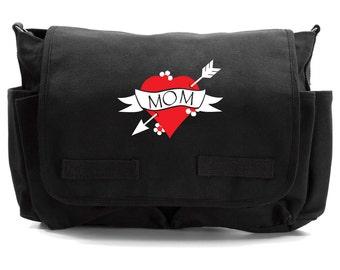 Mom Heart Tattoo Messenger Bag, Diaper Bag, Crossbody, Punk Diaper Bag, Baby Shower Gift, Men & Women Bag, Messenger Bag