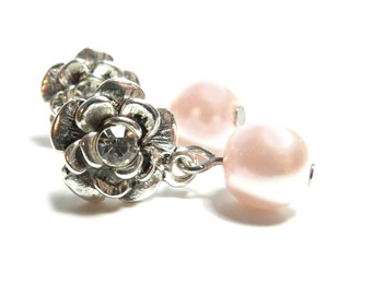 Rose with Blushing Pink Glass Pearl Silver Stud Earrings