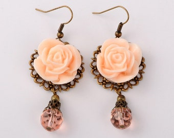 Rose Filigree Earrings, Peach or Pink