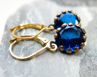 Royal Blue Rhinestone Dangle Gold French Clip Earrings - 5 Colors