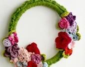 Spring Wreath- crochet wreath,embroidery hoop,crochet butterfly,homedecor, nursery decor, baby gift