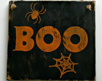 Halloween Rustic Sign, Wood, Door Hanger or Wall Decor