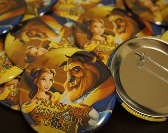 Beauty and the Beast - Guest Button Pins - Disney Princess Belle Custom Button Pins 10pcs