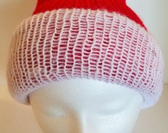 Red and White Reversible Beanie Hat (adult size) - loom knitted, Mohair/Wool/Acrylic Blend