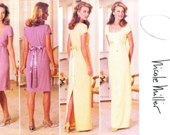 Butterick 4297 Pattern (Size 6 8 10) DAY or EVENING DRESS Maxi Dress Gown Empire Raised Waist Straight Skirt Back Slit- Nicole Miller UNcut