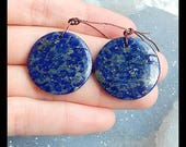Simple Earring-Natural Lapis Lazuli Round Gemstone Earring Bead,24x3mm,7.6g