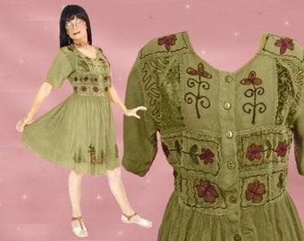 Short Gypsy Dress - 90s Grunge - Broomstick Dress - Boho Embroidered Festival Dress - Knee Length Dress - 90s Vintage Loose Dress for Spring