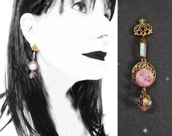 Pink Blush Earrings are OOAK Handmade with Vintage, Pink Crystal Drop Earrings, Unusual Dangles, Antique Bohemian Style in Gift Box