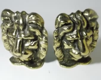 Vintage Brass Lion Head Bookends Made In England