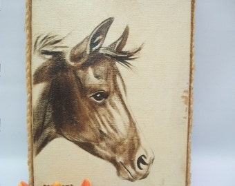 Vintage Horse Painting, Small Painted Canvas of Horsse, Old Canvas Painting Horse, Horse Lovers, Rustic Canvas Painting, Country Cottage,