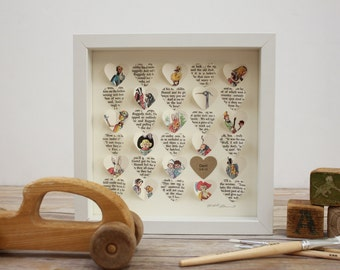 Baby Gift: 3D Framed hearts made from a Vintage Children's Book. Unique baby shower gift