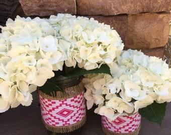 Mason Jar Wrap, Pink Tribal Boho Chic & Burlap Mason Jar Decoration, Baby Shower, Party, Wedding Decoration