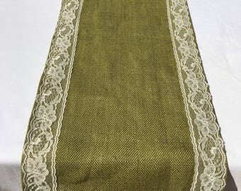 Moss Green Burlap & Lace Table Runner,  READY to SHIP, Custom Sizes Available