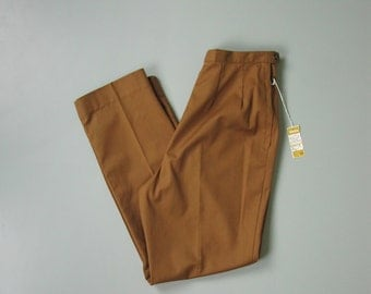 Vintage 1960s Camel Brown Cigarette Pants. NOS 60s White Stag High Waist Trousers. Size Medium