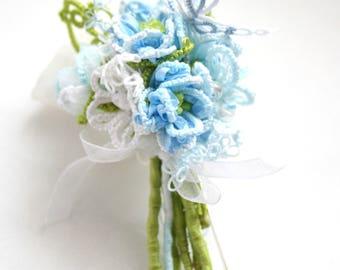 Artisan Blue Floral Tatting Lace Silk Organza Ribbon Butterfly Brooch