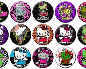 """1"""" - HELLO KITTY ZOMBIE -  Lot of 15 Buttons - Pin Back Button Badge"""