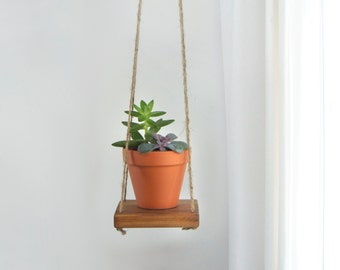 Reclaimed Wood and Jute Hanging Swing Shelf, Floating Shelving | Small Wooden Plant Stand, Holder, Hanger For Succulent Wall Planter