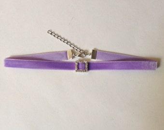 Lavender Velvet Slim Choker with Rhinestone Charm