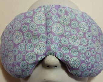 Herbal Hot/Cold Therapy Sleep Mask with adjustable and removeable strap Purple with Blue designs