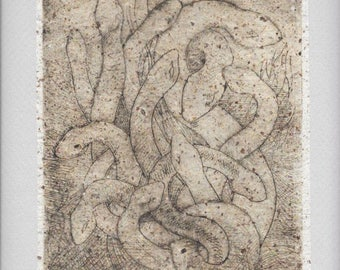 Snake Collograph Print-Nest of Vipers-Neutral Scary Art-9 x 12-Monoprint