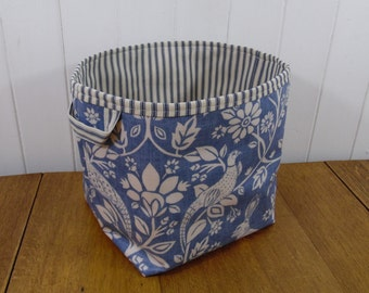 Heath Bird and Hare Rabbit Print Blue Ex Large Storage Basket Bin- oilcloth wipe clean