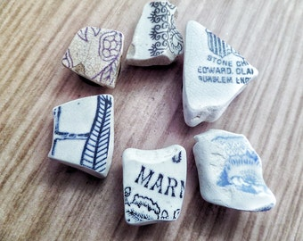 Scottish Magnets Sea Pottery Blue, Black and White Fridge Set of Six Gift From Scotland
