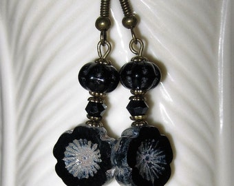 Black Flower Earrings Czech Glass Beads, with Black Melon Bead & Swarovski Jet Crystal on Silver