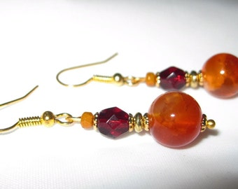 Women's Earrings Round Orange Jasper and Red Czech Glass Faceted Oval Beads on Gold Metal
