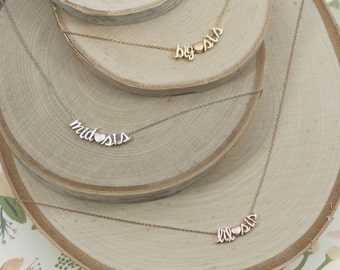 Set of Sister Necklaces | Script Name | Big Sis | Mid Sis | Lil Sis | Sisters | Sorority | Pledge | Best Friends Forever | Mothers Day Gift