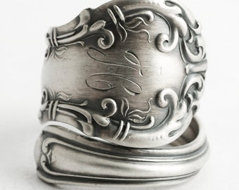 "Victorian Spoon Ring, Sterling Silver Spoon Ring, Antique Wallace ""Irving"" 1899, Handmade Gift Promise Ring, Mono H, Custom Ring Size (6599)"