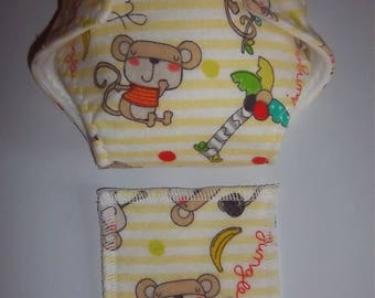 Baby Doll Diaper/ Doll Diaper Wipe - jungle scene, adjustable for dolls/stuffed animals such as bitty baby