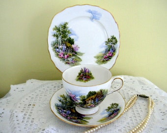 Vintage Royal Vale English Thatched Country Cottage Garden Bone China Tea Cup Saucer and Plate Teacup Trio Made in  England