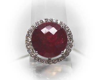 Stunning Sterling Silver 15 MM Ruby White Topaz Halo Ring
