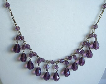 Art Deco Necklace Amethyst Glass Beads and Drops 1920's 1930's