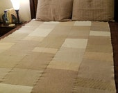 Pure Felted Cashmere Blanket in White, Creams and Beige