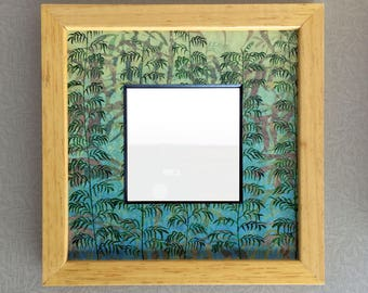 Bamboo Design Framed Mirror. Small Square Mirror.