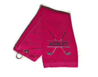 Golf towel, trifold in hot pink