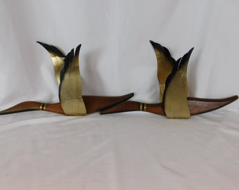 Pair Of Mid Century Modern Wood And Brass Geese, MCM Wall Hangings