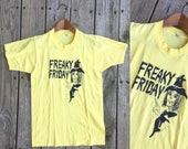 AMAZING Vtg 80s Freaky Friday Witch Print Tee Tshirt