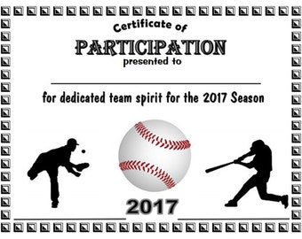 2017 Baseball Sports Certificate - Digital Download