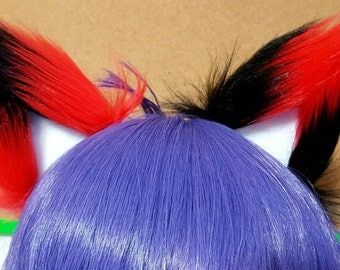 Black and Red Mismatched Harley Quinn Clip on Fox Ears