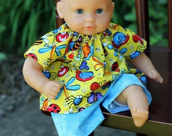 """12 inch Corolle Doll Clothes, 12 inch Huggums Doll Clothes, Doll Top and Shorts,  Yellow """"Bugs"""" Shirt and Blue Shorts"""