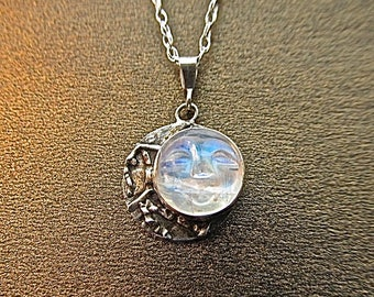 Sterling silver man-in-the moonstone pendant