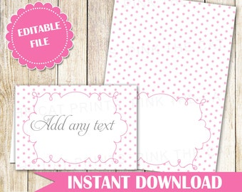Pink Buffet Food Label - Buffet Label - Printable Food Label Party Label Food Card Wedding Place Card Wedding Seating Card INSTANT DOWNLOAD