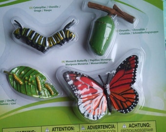 Life Cycle of a Monarch Butterfly. Plastic Figures. Cake Toppers. Eggs, Caterpillar, Chrysalis, Butterfly. Made by Safary Ltd. Unopened.