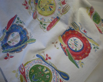 Vintage Adorable Red Blue and Gold Dinner Plates Tablecloth
