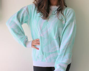 1980s MINT Kitsch Sweater...unicorn. colorful. bright. retro. 1980s sweater. rad. fun. crop sweater. crop top. pastel. bright. green. blue